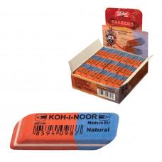 Ластик KOH-I-NOOR 6521/80, 42*14*8 мм, КРАСНО-СИНИЙ, прямоугольный, скошенные края, натуральный каучук
