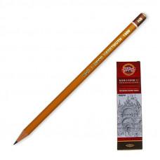 Карандаш чернографитный KOH-I-NOOR 1500 НВ без резинки, корпус ЖЕЛТЫЙ, заточенный