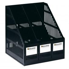 Лоток вертикальный для бумаг BRAUBERG «MAXI Plus», 240 мм, 3 отделения, сетчатый, сборный, ЧЕРНЫЙ