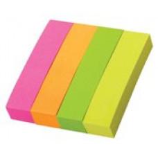 Закладки с клеевым краем, 20х50 мм, бумажные, 4 блока по 40л., 4-х цветные неон