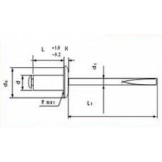 Заклёпка вытяжная DIN7337 AL/A2, 4,8*12, (упак-500 шт) ЭЛЬНАР
