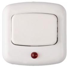 Кнопка для звонка 220В, с индикацией включения, БЕЛАЯ, СВЕТОЗАР
