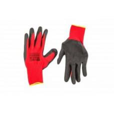 Перчатки ПОЛИЭСТЕР с песочным полимерным покрытием REES, размер 11, КРАСНЫЕ, (упак-12 пар)