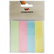 Закладки с клеевым краем, 18,75х75 мм, бумажные, 4 блока по 100л., 4-х цветные