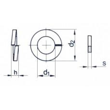 Шайба-гровер DIN127/A4/B M  8, (упак-1000 шт)