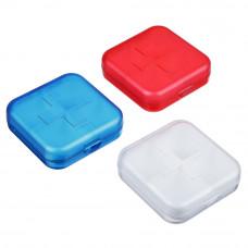 Бокс для таблеток, 4 ячейки, 6,5*6,5 см, пластик