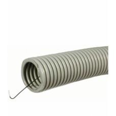 Труба ПВХ гофрированная с зондом, D25 мм, СЕРЫЙ, IP55, (упак-50 пог.м) Т-ПЛАСТ
