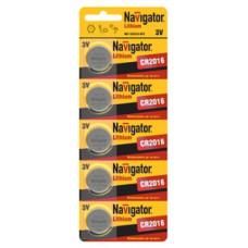 Элемент питания NAVIGATOR NBT-CR2016-BP5, (упак-5 шт)
