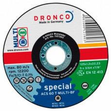 Круг отрезной по металлу 180*1,6*22,23 мм, AS46 INOX, ГОЛУБОЙ, (упак-25 шт) DRONCO
