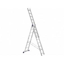 Лестница алюминиевая, 3 секции по  9 ступеней, НОВАЯ ВЫСОТА НВ123