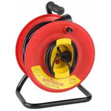 Удлинитель электрический на катушке, 30 м, 1 евророзетка, заземление, защита, (упак-4 шт) GRINDA