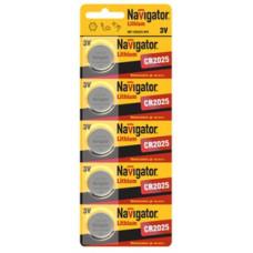 Элемент питания NAVIGATOR NBT-CR2025-BP5, (упак-5 шт)