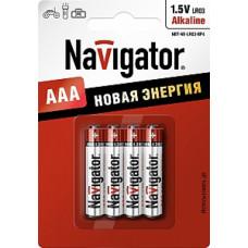 Батарейка NAVIGATOR NBT-NE-LR03-BP4, (упак-4 шт) КИТАЙ