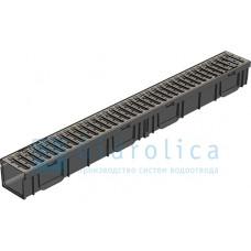 Лоток водоотводный ЛВ-10.11,5.9,5 ПЛАСТИКОВЫЙ, решетка РВ-10.10,8.100 стальная оцинкованная, кл.A15