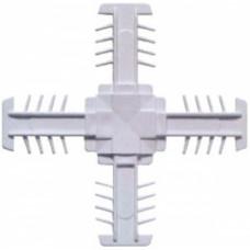 Соединитель 8*18 мм, КРЕСТОВОЙ, пластиковый, БЕЛЫЙ, (упак-300 шт) ELISABETH