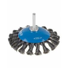 Щётка коническая для дрели D100 мм, ЗУБР 35235-100_z01, плетённые пучки стальной проволоки 0,5 мм