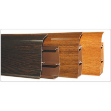Плинтус напольный ПВХ 67*2500 мм, мягкая кромка/кабель-канал, ДУБ, (упак-20 шт) ИДЕАЛ ЭЛИТ