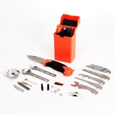 Набор для выживания, 27 предметов в пластиковой коробке 130*65*45 мм, ремень, ЕРМАК