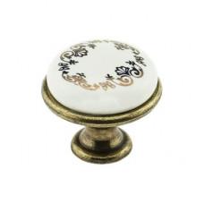 Ручка -кнопка керамика УЗОР, БРОНЗА